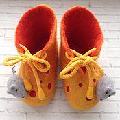 """Обувь ручной работы. Ярмарка Мастеров - ручная работа Пинетки валяные """"Сыр с мышкой"""". Handmade."""