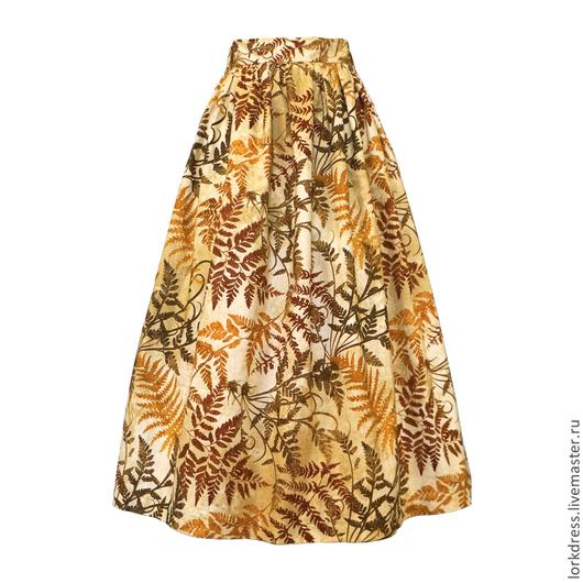 Юбки ручной работы. Ярмарка Мастеров - ручная работа. Купить Юбка миди Brown Fern 80 см с карманами. Handmade.