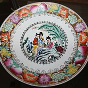 Винтаж handmade. Livemaster - original item Beautiful decorative plate, hand painted, old China. Handmade.