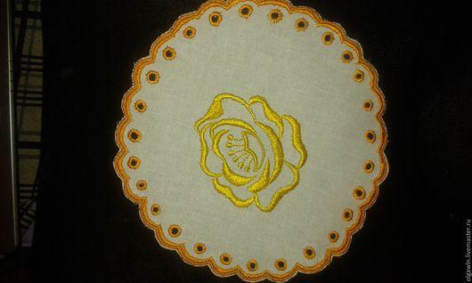 Текстиль, ковры ручной работы. Ярмарка Мастеров - ручная работа. Купить Салфетка Роза. Handmade. Комбинированный, вышивка, Ришелье, Декор