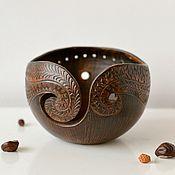Для дома и интерьера ручной работы. Ярмарка Мастеров - ручная работа Клубочница чаша для вязания с орнаментом Махагон. Handmade.