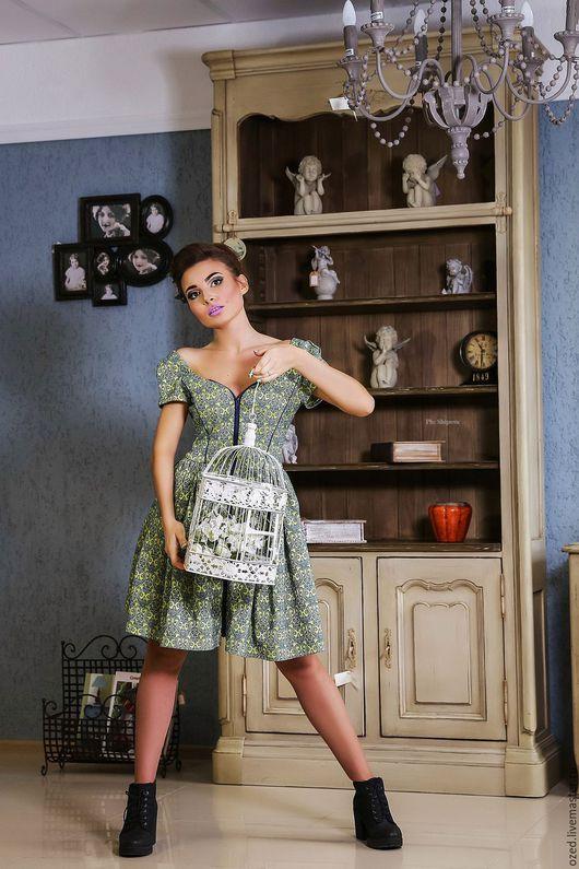 """Платья ручной работы. Ярмарка Мастеров - ручная работа. Купить Платье """"Барококо"""". Handmade. Орнамент, шебби-шик, молния, клетка"""