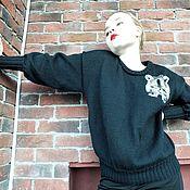 Одежда ручной работы. Ярмарка Мастеров - ручная работа Джемпер Енот вязаный женский пуловер спицами. Handmade.