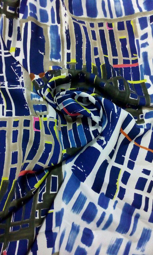 """Шитье ручной работы. Ярмарка Мастеров - ручная работа. Купить Итальянский шифон """"Абстракция"""". Handmade. Комбинированный, итальянский шелк"""