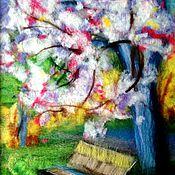 Картины и панно ручной работы. Ярмарка Мастеров - ручная работа Весенний пейзаж в технике шерстяная акварель.. Handmade.