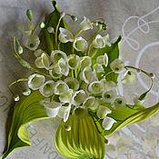 Украшения handmade. Livemaster - original item Silk flowers.Brooch Lily of the valley spring. Handmade.