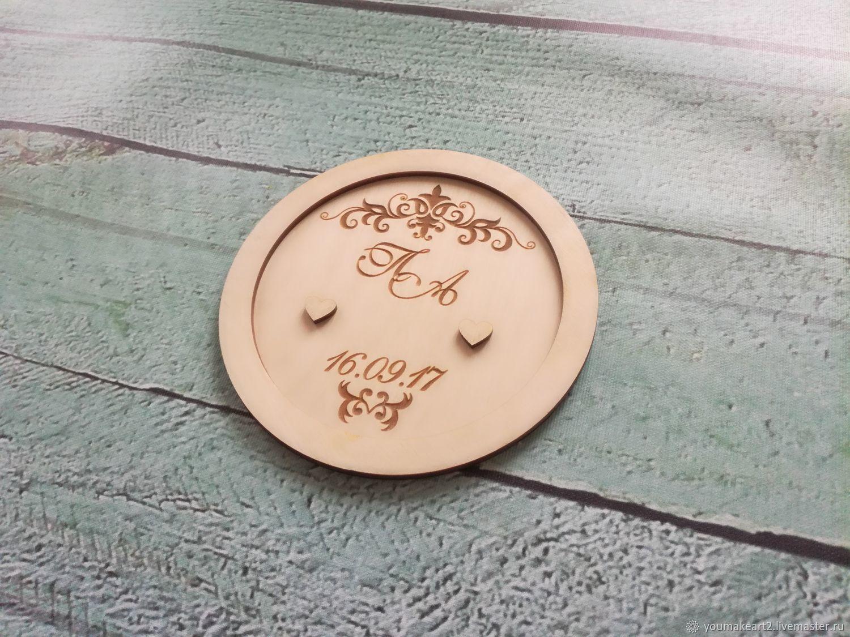 Подставка для колец из дерева с гравировкой, Свадебные аксессуары, Москва, Фото №1