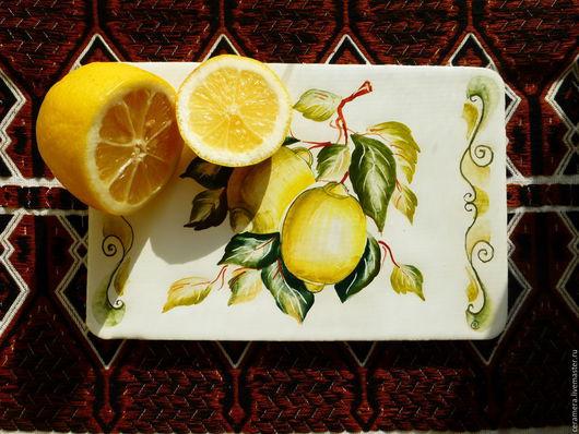"""Кухня ручной работы. Ярмарка Мастеров - ручная работа. Купить Декоративное панно """"Лимоны"""".. Handmade. Керамический декор, панно с лимонами"""
