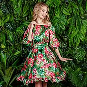 Одежда ручной работы. Ярмарка Мастеров - ручная работа Романтичное летнее платье в мини длине. Handmade.