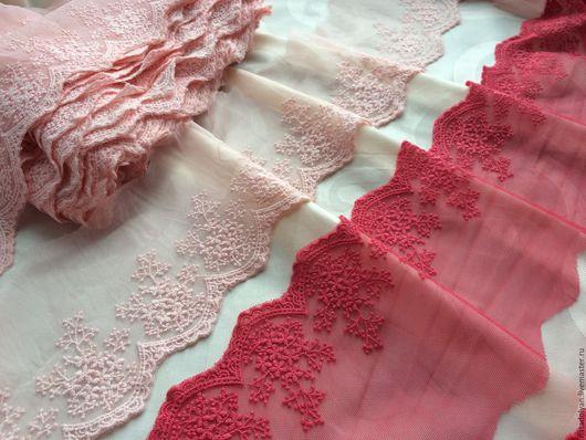 """Шитье ручной работы. Ярмарка Мастеров - ручная работа. Купить Шитье на сетке""""Цветной букет"""" оттенки розового 8 см Только темное 5м. Handmade."""