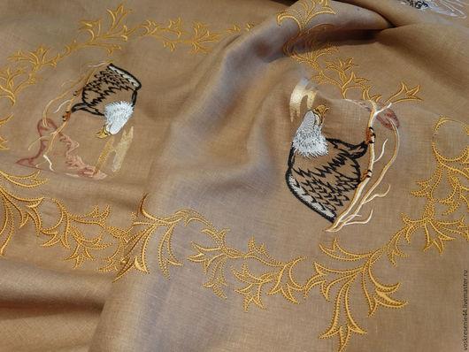 Текстиль, ковры ручной работы. Ярмарка Мастеров - ручная работа. Купить Скатерть льняная Сафари. Handmade. Коричневый, домашний текстиль
