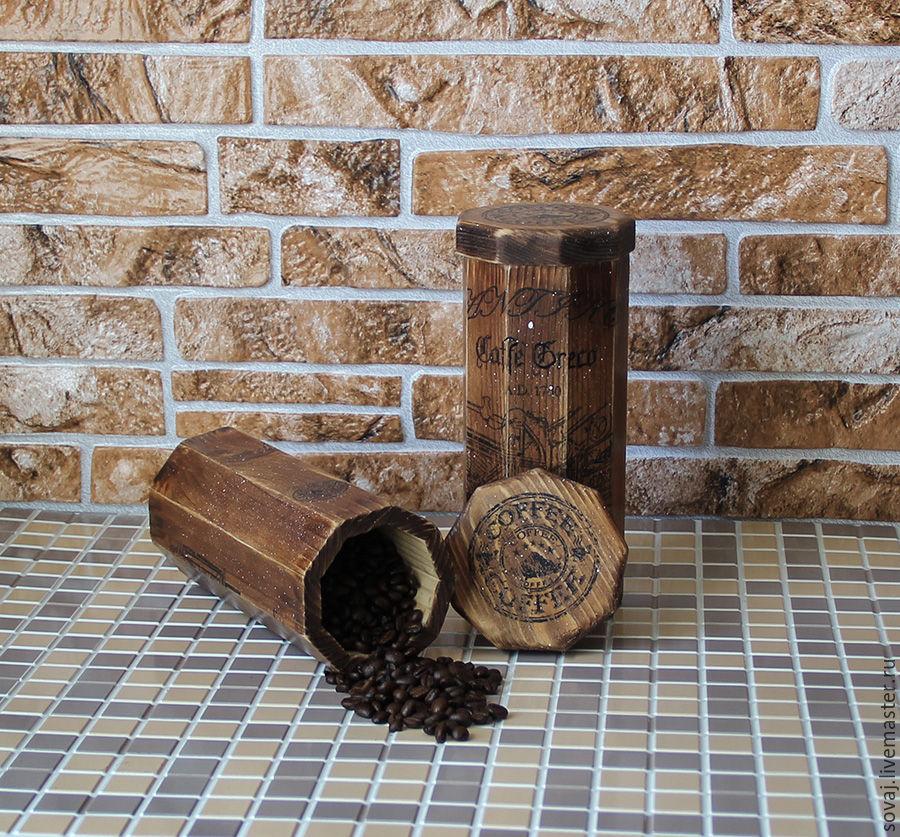 Big box (set) for storing coffee or tea, 'Italian coffee', Jars, ,  Фото №1