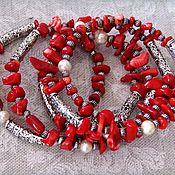 Украшения handmade. Livemaster - original item Multi-row bracelet on memory wire, coral, and pearls,
