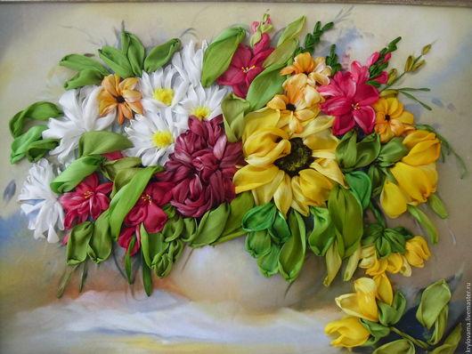 Картины цветов ручной работы. Ярмарка Мастеров - ручная работа. Купить Букет с подсолнухами.Картина вышитая лентами.. Handmade.