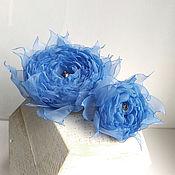 Украшения handmade. Livemaster - original item Blue fabric flowers. Set - brooch-clip and ring.. Handmade.