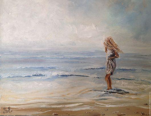 Пейзаж ручной работы. Ярмарка Мастеров - ручная работа. Купить Прогулка по берегу. Handmade. Голубой, песок, море, ракушки