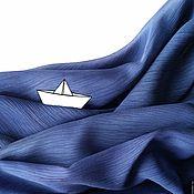Аксессуары ручной работы. Ярмарка Мастеров - ручная работа Шарф Волны океана, темно-синий шелковый. Handmade.