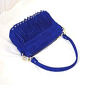 Сумки и аксессуары handmade. Livemaster - original item Blue suede handbag with fringe on the strap art. 382. Handmade.