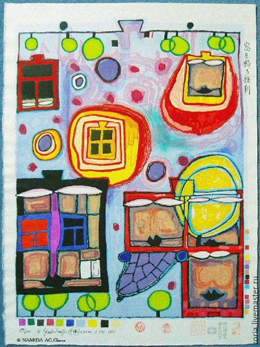 Картина Хундертвассера `Оконное право`  шелковый шарф батик шарф шелковый,шелковый шарф,шарф ручной работы,батик шелковый шарф,шарф,подарок женщине,шарф шелковый батик, батик шелковый шарф,батик