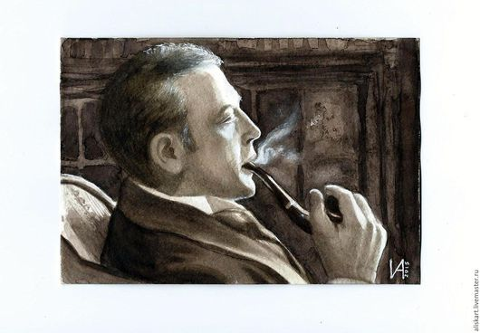 Люди, ручной работы. Ярмарка Мастеров - ручная работа. Купить Шерлок Холмс. Handmade. Коричневый, портрет, акварель, картина