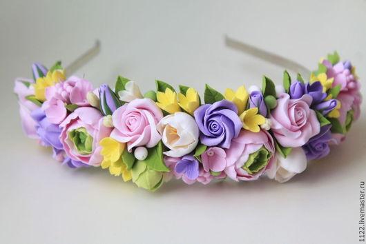Диадемы, обручи ручной работы. Ярмарка Мастеров - ручная работа. Купить Ободок с фиолетовыми розами. Handmade. Разноцветный
