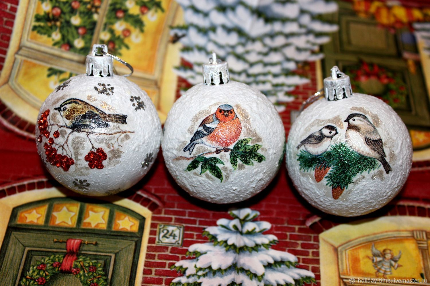Everything for home Christmas toys: Christmas balls with birds, Christmas decorations, Chusovoi,  Фото №1