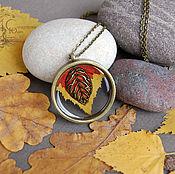Украшения ручной работы. Ярмарка Мастеров - ручная работа Кулон с листьями Микро-осень. Handmade.