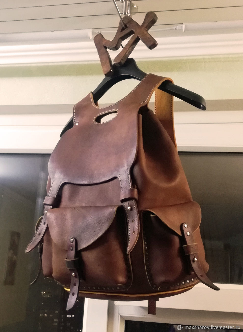 Leather rucksack handcrafted. art 77.3, Backpacks, Moscow,  Фото №1