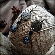 Украшения handmade. Livemaster - original item Long earrings with natural snow obsidian.. Handmade.