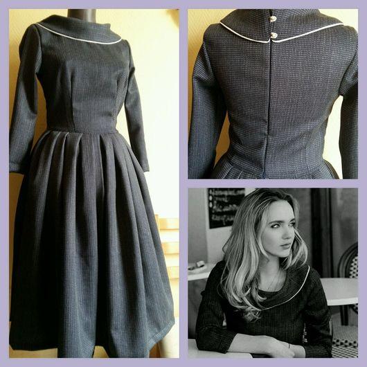 Платья ручной работы. Ярмарка Мастеров - ручная работа. Купить Платье шерстяное с оригинальным воротником. Handmade. Платье, расклешенная юбка