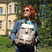 Сумки и аксессуары handmade. Livemaster - original item Women`s leather backpack grey beige Letis, with pockets, light. Handmade.