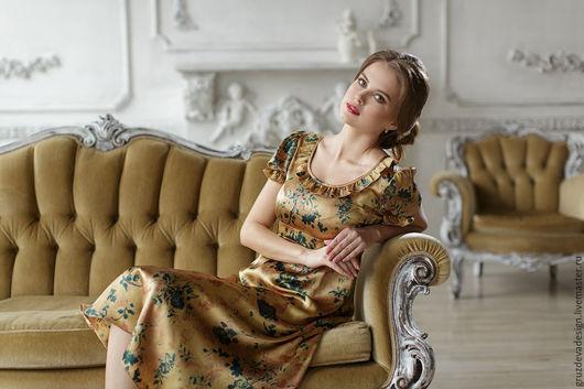 Платья ручной работы. Ярмарка Мастеров - ручная работа. Купить Золотое Ретро. Handmade. Комбинированный, красота, платье миди