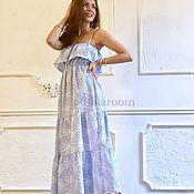 Одежда ручной работы. Ярмарка Мастеров - ручная работа Голубой сарафан из хлопка. Handmade.