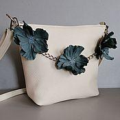 Сумки и аксессуары handmade. Livemaster - original item Leather women`s shoulder bag hobo small Anemones milk. Handmade.