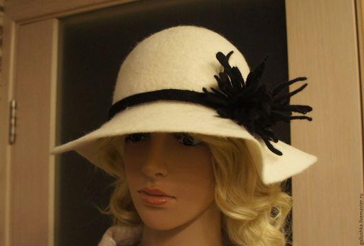 Шляпы ручной работы. Ярмарка Мастеров - ручная работа. Купить шляпа валяная  Белоснежная. Handmade. Белый, шерстяная шляпа, однотонный