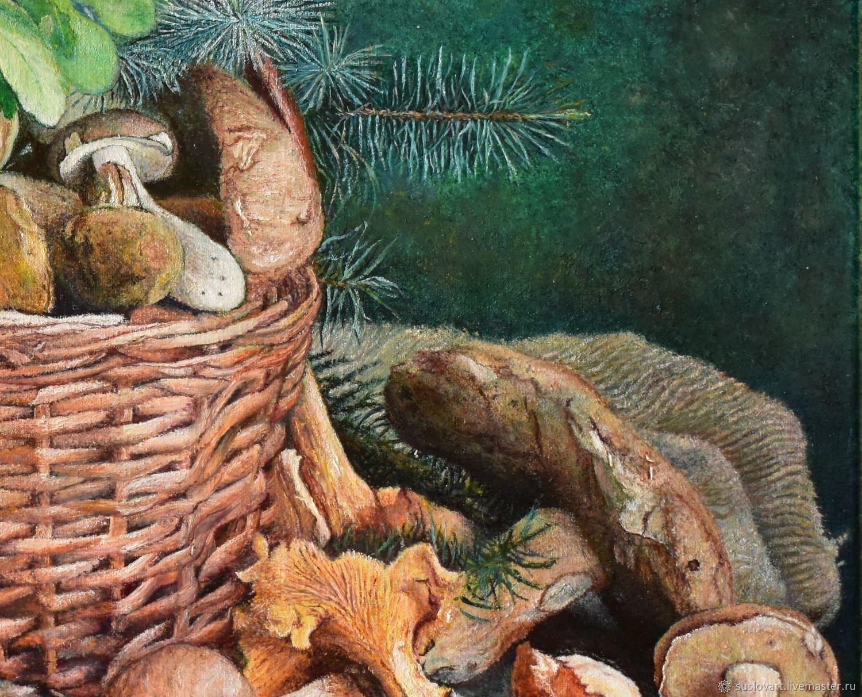 Картина маслом Грибы в плетенной корзине – купить на ...