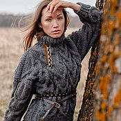 Одежда handmade. Livemaster - original item Jerseys: Women`s large knit sweater heart oversize gray. Handmade.