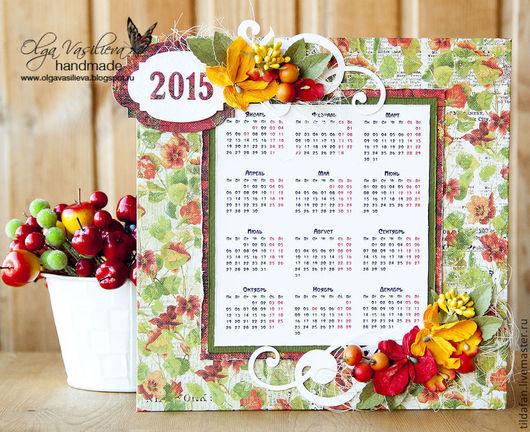 Календари ручной работы. Ярмарка Мастеров - ручная работа. Купить Календарь-магнит. Handmade. Календарь, календарь 2015, магнит на холодильник