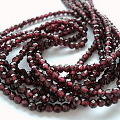 Материалы для творчества handmade. Livemaster - original item Garnet small faceted beads 3mm beads, thread 37cm. Handmade.