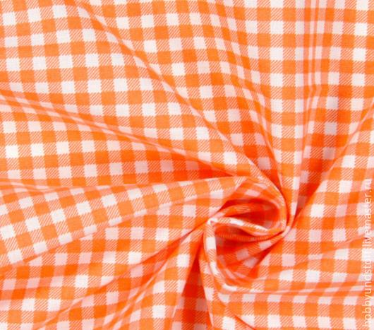 Шитье ручной работы. Ярмарка Мастеров - ручная работа. Купить Немецкий хлопок оранжевая клетка. Handmade. Оранжевый, хлопок