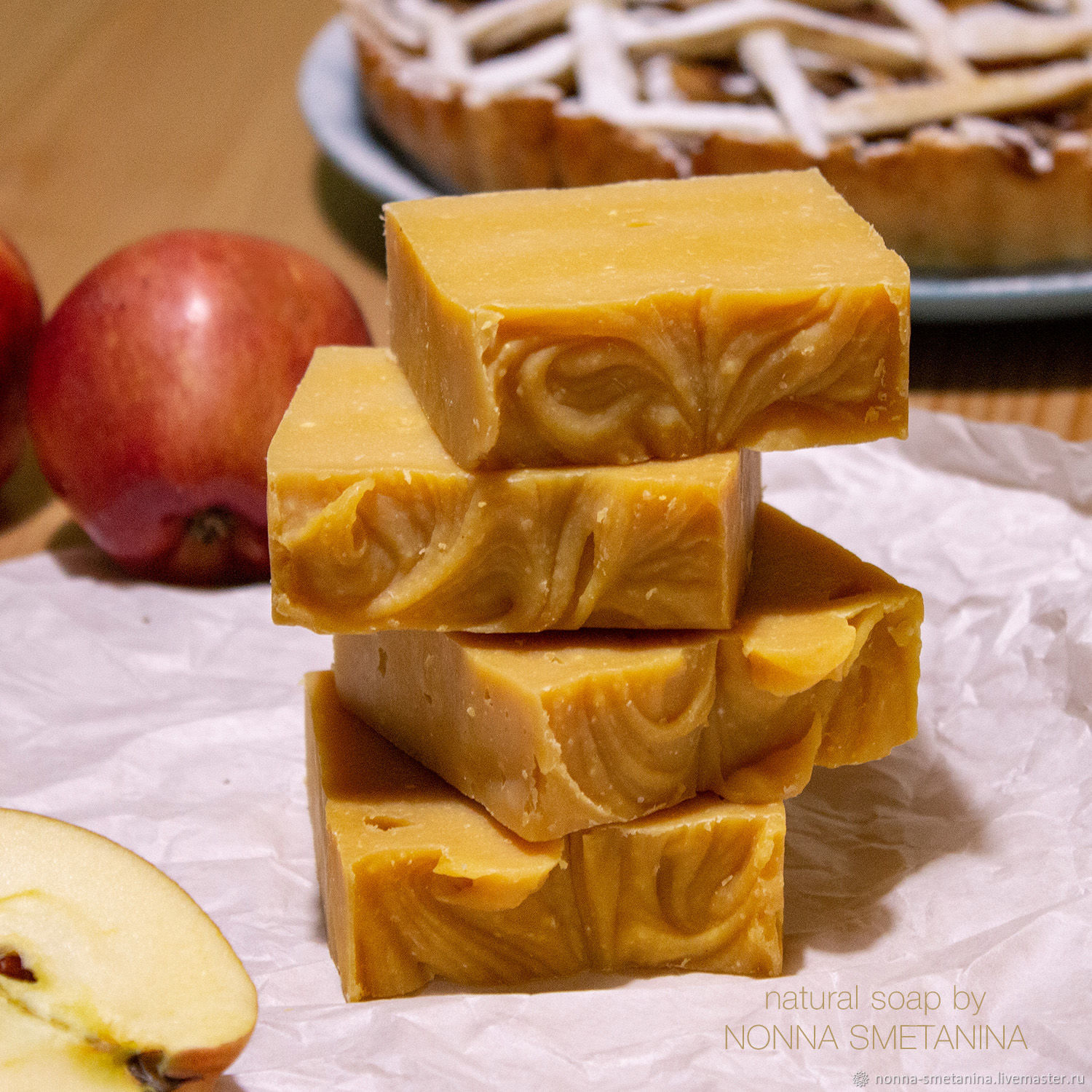 'Apple pie ' soap with silk, coconut milk, Soap, Moscow,  Фото №1