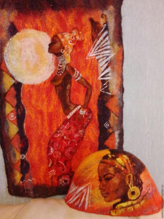 """Банные принадлежности ручной работы. Ярмарка Мастеров - ручная работа. Купить Комплект для бани """"Жаркая Африка"""". Handmade. Комбинированный"""