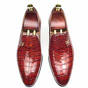 Обувь ручной работы handmade. Livemaster - original item Men`s loafers, crocodile leather, in two shades of red!. Handmade.