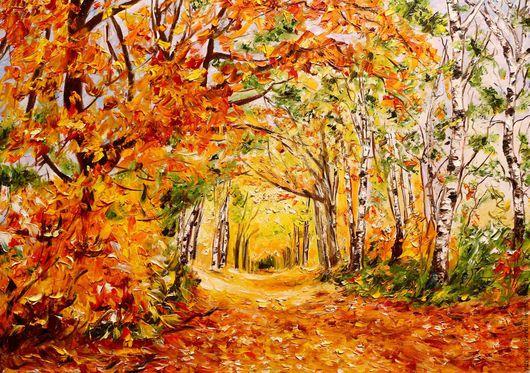 """Пейзаж ручной работы. Ярмарка Мастеров - ручная работа. Купить """" Осенний парк """" (авторская работа). Handmade. Оранжевый"""