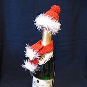 Подарки к праздникам ручной работы. Ярмарка Мастеров - ручная работа новогодний набор на бутылку шампанского. Handmade.