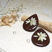 Украшения handmade. Livemaster - original item Wooden earrings with Real White Flowers Resin Eco Jewelry. Handmade.