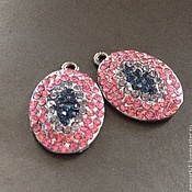Материалы для творчества handmade. Livemaster - original item Pendant with cubic Zirconia art. 7-8 and rhodium plated. Italy. Handmade.