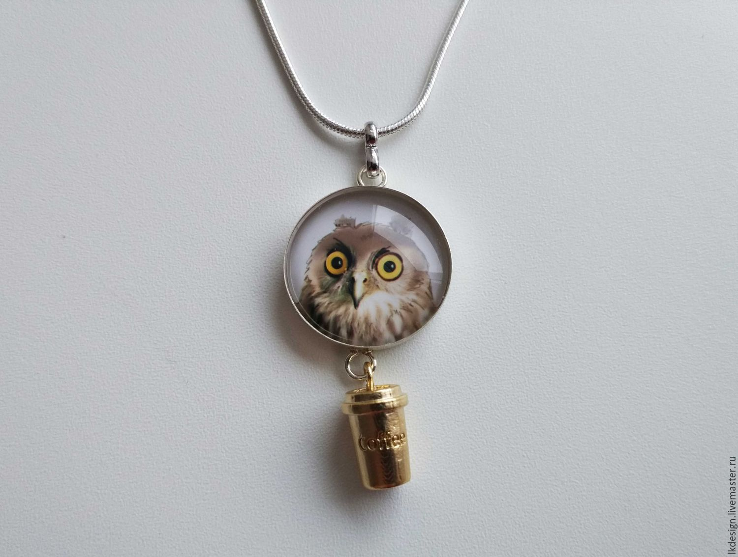 Owl pendant with coffee Cup, Pendants, Moscow,  Фото №1