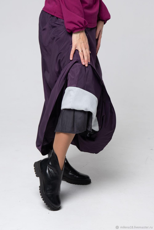 Юбка теплая длинная фиолетовая трапеция на флисе, Юбки, Санкт-Петербург,  Фото №1