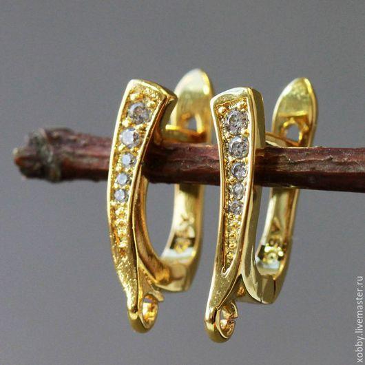 Швензы из латуни с родиевым покрытием под золото и цирконами, застежка английский замок для сборки сережек